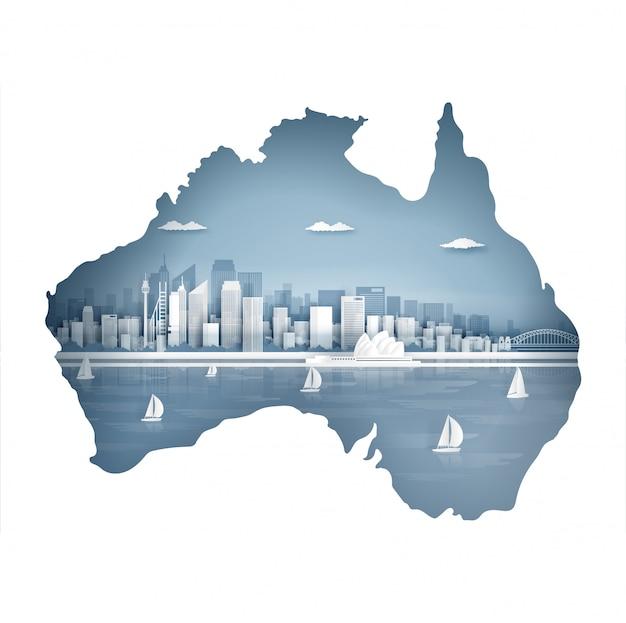 Concepto de mapa de australia con un hito famoso por una postal de viaje y un cartel, folleto, publicidad
