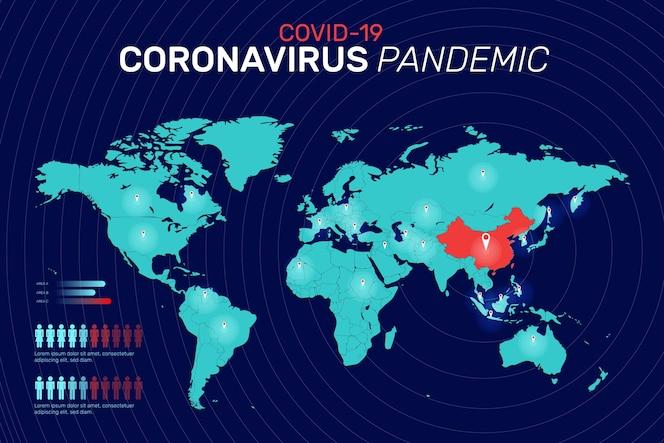 Concepto de mapa de coronavirus