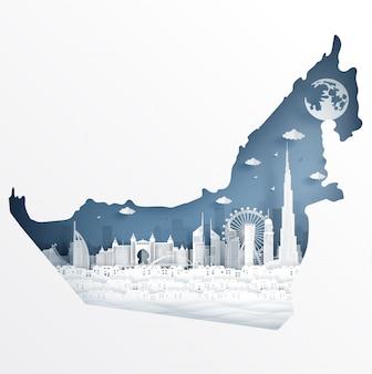 Concepto de mapa de dubai con un hito famoso por postal y cartel de viaje