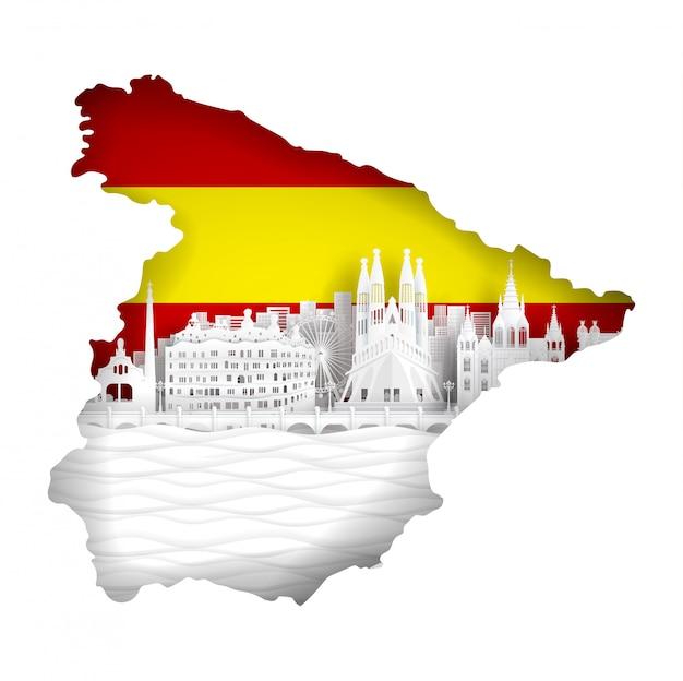 Concepto de mapa de españa con bandera y famoso monumento