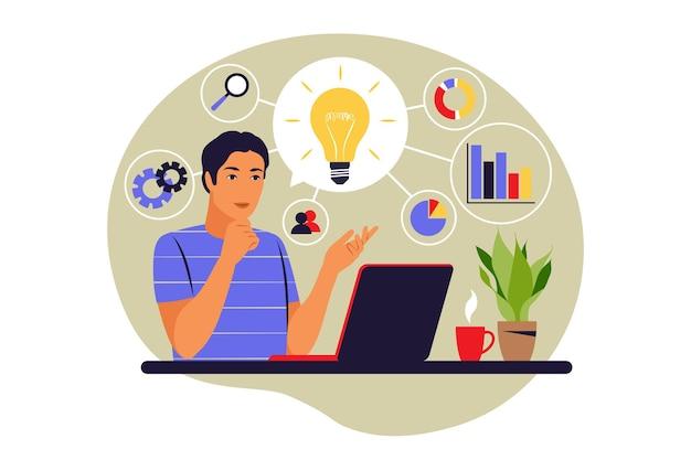 Concepto de mapa mental. generación de ideas de negocio. desarrollo del plan. proceso de lluvia de ideas. ilustración vectorial. plano.