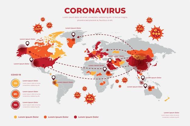 Concepto de mapa mundial de coronavirus