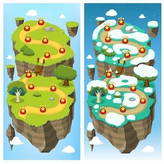 Concepto de mapa de nivel de juego móvil
