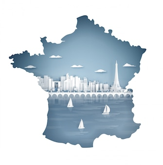 Concepto de mapa de parís, francia con hito famoso por postal y cartel de viaje, folleto, publicidad