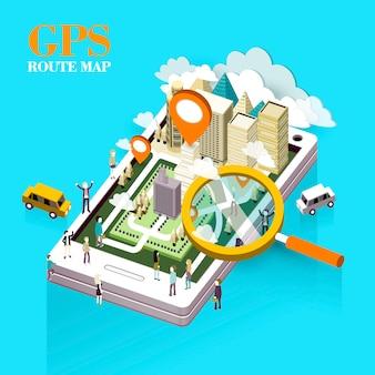 Concepto de mapa de ruta gps en gráfico isométrico