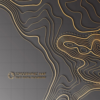 Concepto de mapa topográfico abstracto de vector