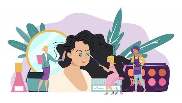 Concepto de maquillaje, estudio de belleza y moda femenina, pequeñas personas trabajan en el salón de cosméticos, ilustración