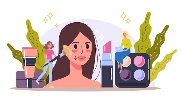 Concepto de maquillaje. mujer en procedimiento de belleza, aplicando