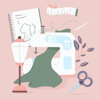 Concepto de máquina de coser de diseñador de moda