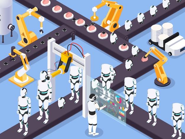 Concepto de máquina isométrica steampunk con vista de maquinaria de línea de montaje industrial y troncos de robot con manipuladores