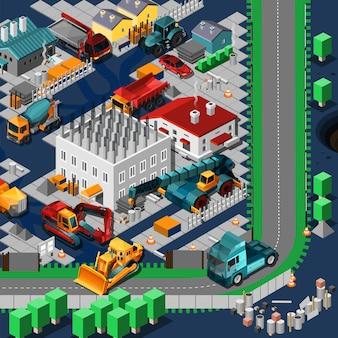 Concepto de máquinas de construcción isométrica