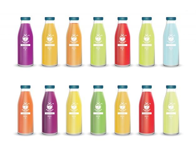 Concepto de marca de botella de vidrio de jugo de frutas aislado sobre fondo gris claro. vector de embalaje eps10