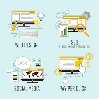 Concepto de marca: diseño web, seo, redes sociales, pago por clic en estilo de línea