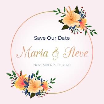 Concepto de marco floral para boda