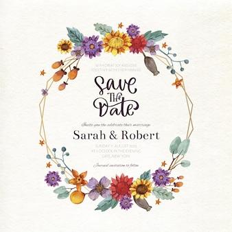 Concepto de marco floral de boda