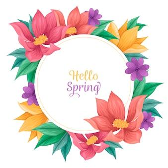 concepto de marco floral de primavera dibujado a mano