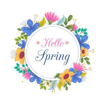Concepto de marco floral de primavera plana