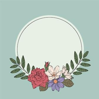 Concepto de marco floral de primavera vintage