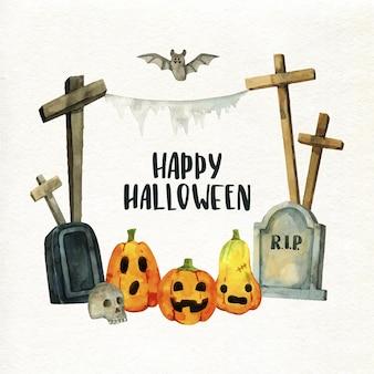 Concepto de marco de halloween acuarela