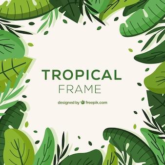 Concepto de marco de hojas tropicales