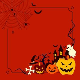 Concepto de marco plano de halloween
