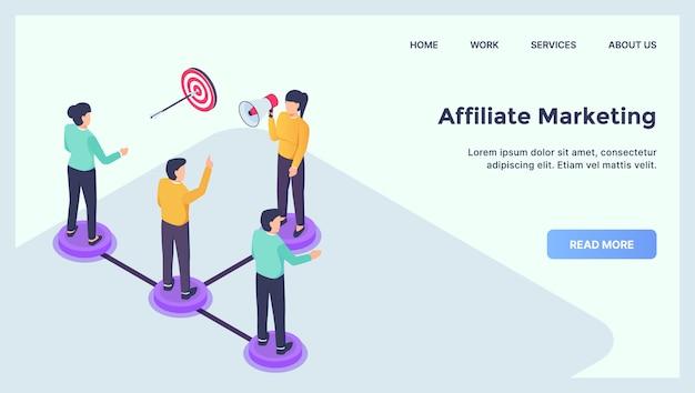 Concepto de marketing de afiliación para la página de inicio de la plantilla del sitio web con plano isométrico moderno