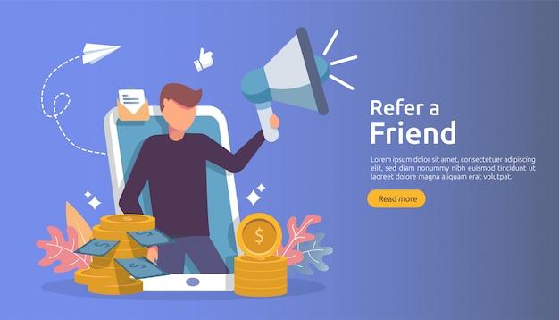 Concepto de marketing de afiliación. recomiende una estrategia de amigo. el carácter de la gente grita megáfono compartiendo asociación comercial de referencias y gana dinero.