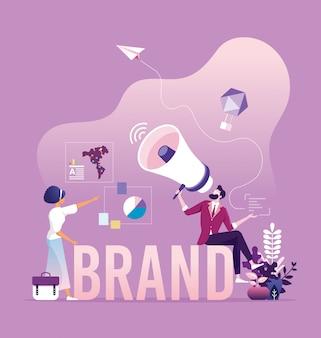 Concepto de marketing y branding empresarial.
