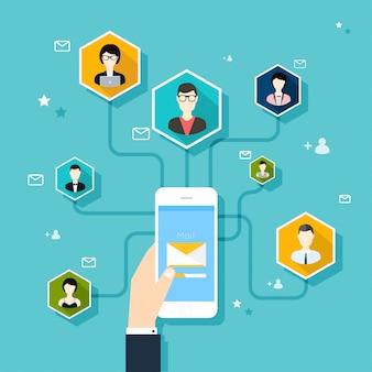 Concepto de marketing de campaña de correo electrónico, publicidad por correo electrónico, marketing digital directo.