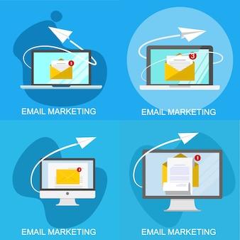 Concepto de marketing y comunicación por correo electrónico