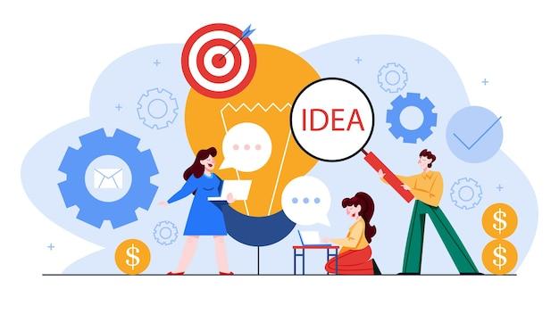 Concepto de marketing de contenidos y smm. idea de crear contenido para redes sociales y sitios web. búsqueda de ideas. comunicación, redacción publicitaria, blogs. ilustración