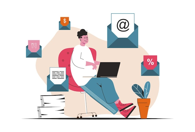 Concepto de marketing por correo electrónico aislado. mailing publicitario, comunicación con clientes. escena de personas en diseño plano de dibujos animados. ilustración vectorial para blogs, sitios web, aplicaciones móviles, materiales promocionales.