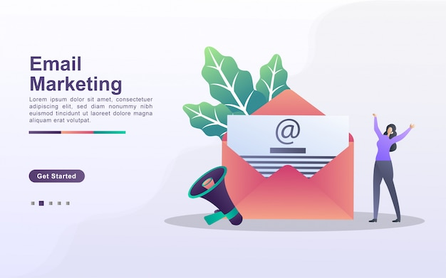 Concepto de marketing por correo electrónico. campaña publicitaria por correo electrónico, marketing electrónico, llegar al público objetivo con correos electrónicos. enviar y recibir correo. se puede usar para la página de destino web, banner, aplicación móvil.