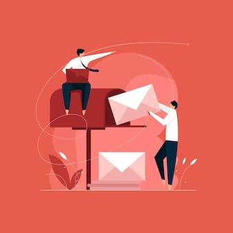 Concepto de marketing por correo electrónico, envío de newsletter