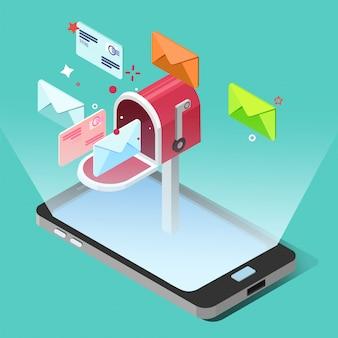 Concepto de marketing por correo electrónico en estilo isométrico. teléfono inteligente con letras