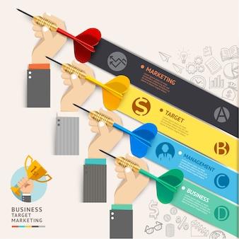 Concepto de marketing de destino empresarial. mano de hombre de negocios con iconos de dardos y garabatos.