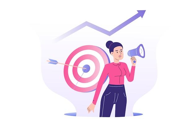 Concepto de marketing de destino con mujer gerente de relaciones públicas que atrae clientes con megáfono