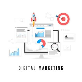 Concepto de marketing digital. análisis de los datos. promoción seo.