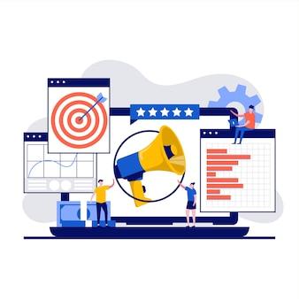 Concepto de marketing digital con carácter promotor.