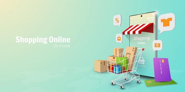 Concepto de marketing digital, compras en línea en la aplicación móvil
