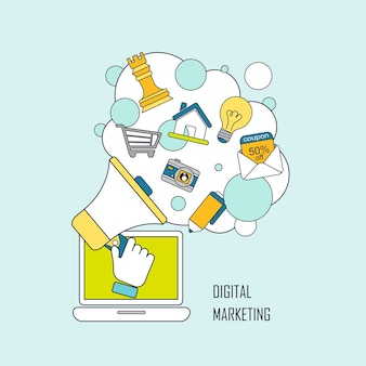Concepto de marketing digital: elementos de megáfono e internet en estilo de línea