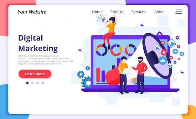Concepto de marketing digital, la gente grita en un megáfono y trabaja frente a una pantalla grande. plantilla de página de destino del sitio web