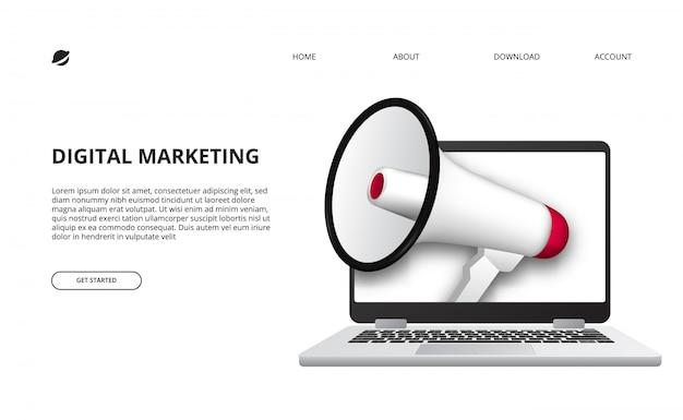 Concepto de marketing digital con ilustración de megáfono y dispositivo portátil 3d para promoción y publicidad en internet