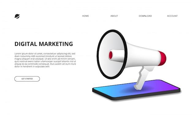 Concepto de marketing digital con ilustración de megáfono con perspectiva 3d smartphone