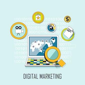 Concepto de marketing digital: lupa y elementos de internet en estilo de línea
