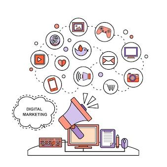 Concepto de marketing digital: megáfono y elementos de redes sociales en estilo de línea