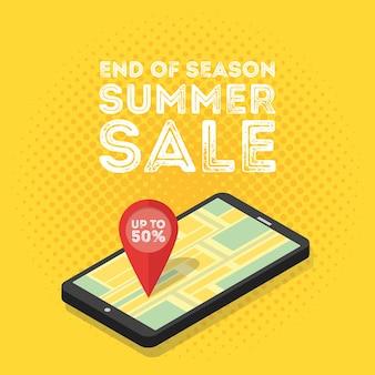 Concepto de marketing digital móvil 3d. smartphone isométrico con mapa y etiquetas. ilustración de vector de estilo retro vintage