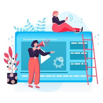 Concepto de marketing digital. las mujeres en marketing crean contenido publicitario, hacen campañas publicitarias en las redes sociales, atraen a nuevos clientes a la escena del personaje. ilustración de vector de diseño plano con actividades de personas