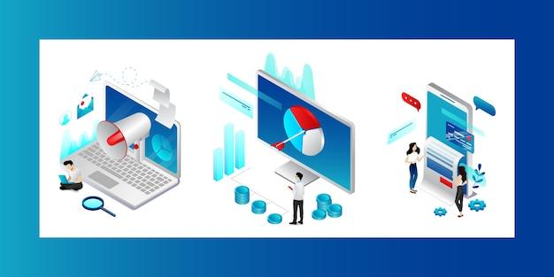 Concepto de marketing digital. personajes que buscan tendencias, estrategias y posibilidades de promoción de productos. hombres y mujeres cumplen sus objetivos comerciales en la publicidad en redes sociales.