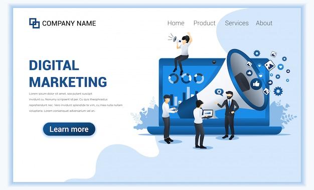 Concepto de marketing digital con personajes.